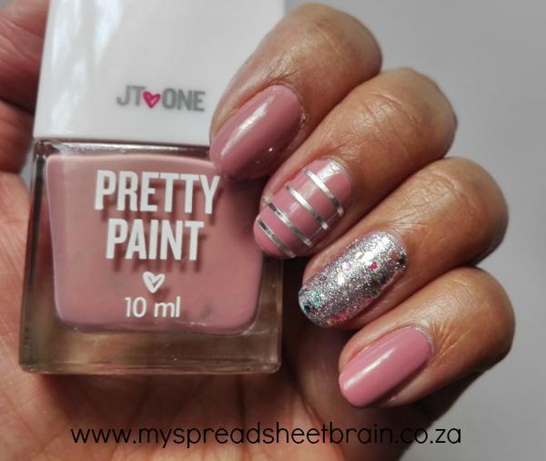 Glitter and Pink nail art